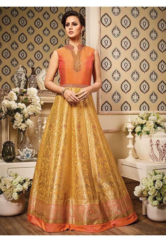 Orange N Yellow Art Silk Anarkali Suit 800x