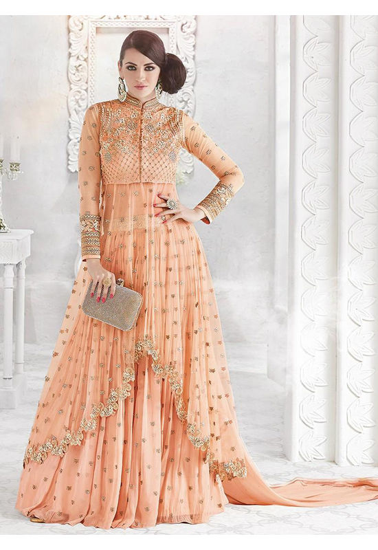 Peach Georgette Embroidered Lehenga Kameez 800x