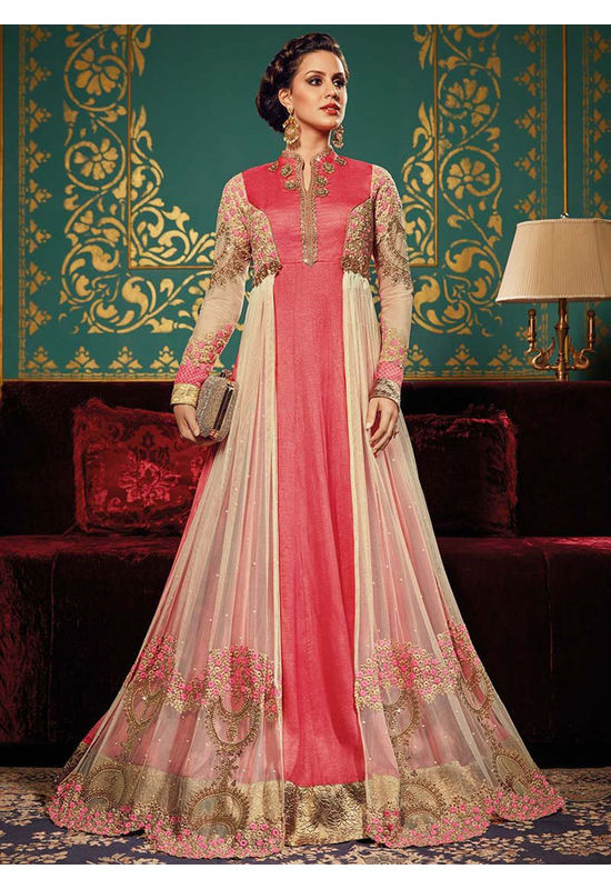 Pink N Cream Art Silk Long Style Anarkali Suit 2ax