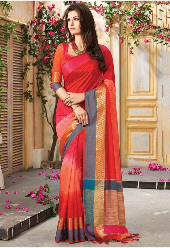 Woven Art Silk Saree in Red _743