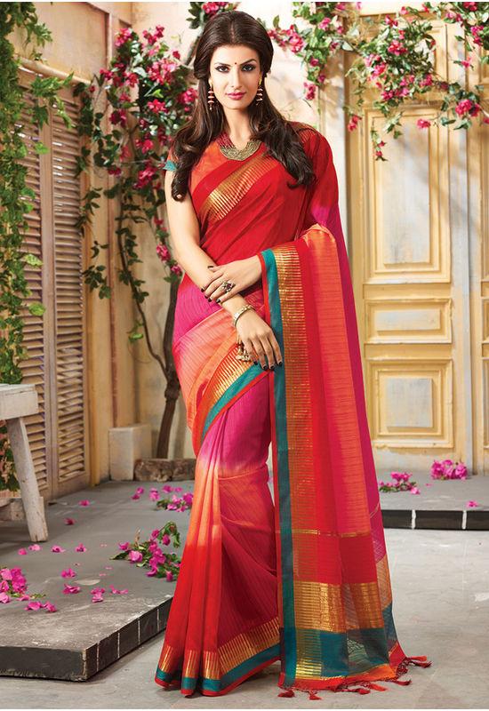 Woven Art Silk Saree in Red _745