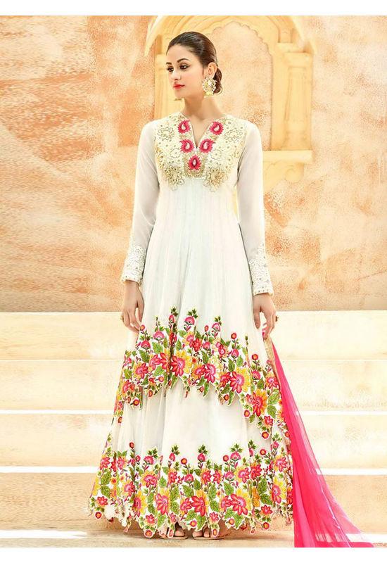 White Net Long Style Anarkali Suit Slscc7222 U