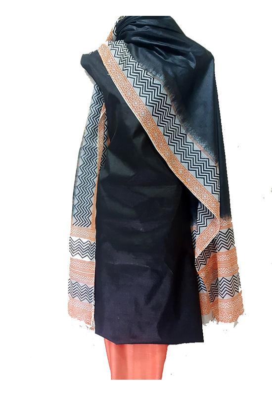 Tussar Silk Suit in Black  Color