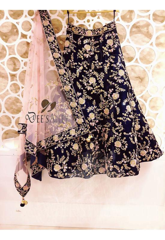 Black Color Velvet Designer Lehenga with Hand work Embroidery