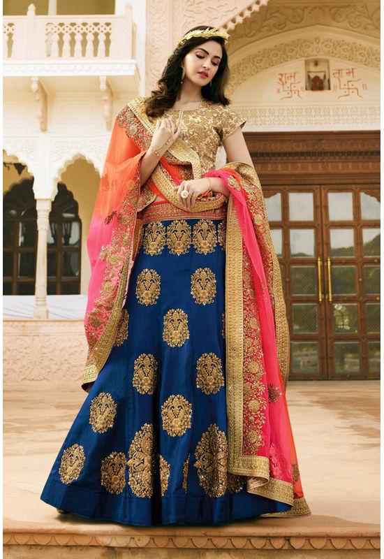 Blue and Beige Raw Silk Heavy  Wedding Lehenga