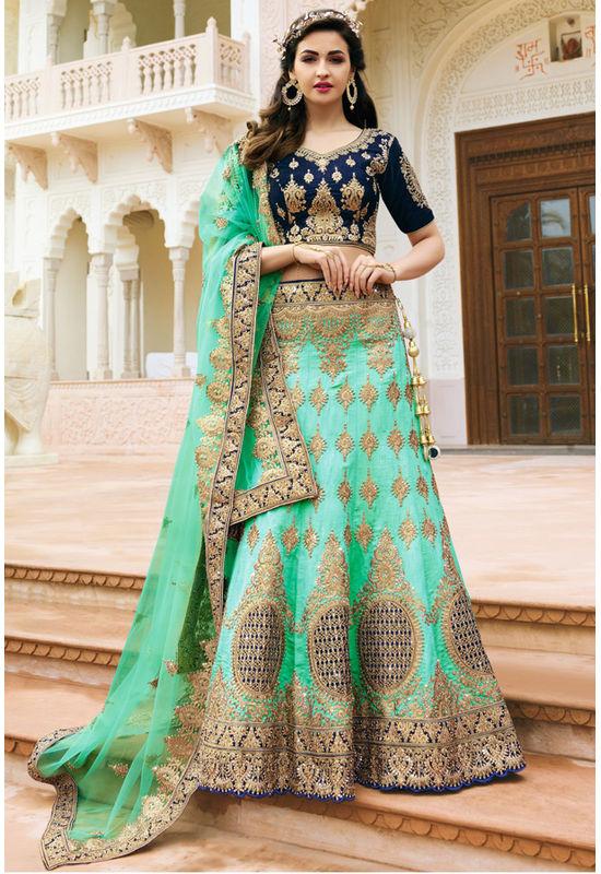 Blue and Sea Green Raw Silk Heavy  Wedding Lehenga