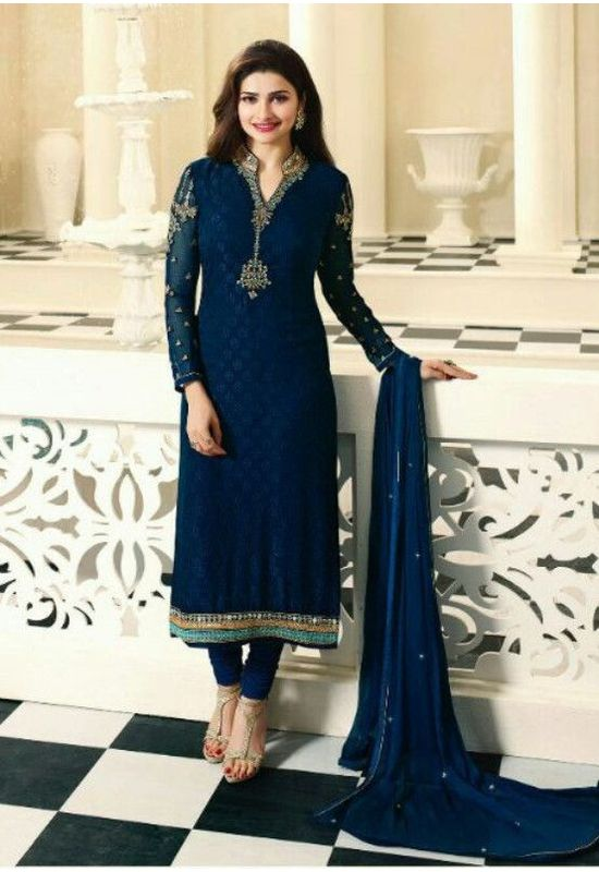 Prachi Desai Blue Embroidered Georgette  Straight Suit