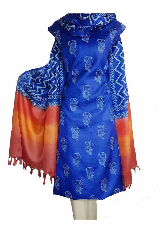 Pure Tussar Silk Material  in Blue Orange Color
