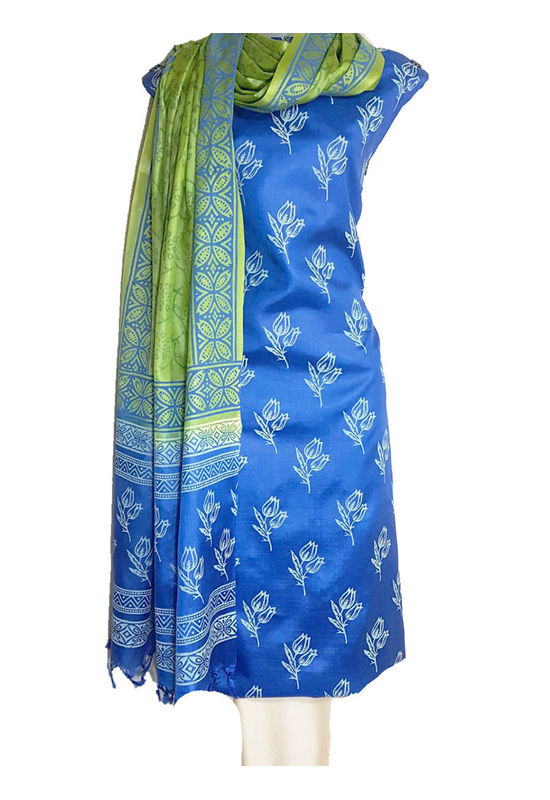 Pure Tussar Silk Material  in Blue Green  Color