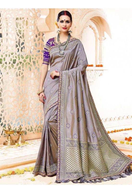 Grey Color Kanjivaram Wedding Saree