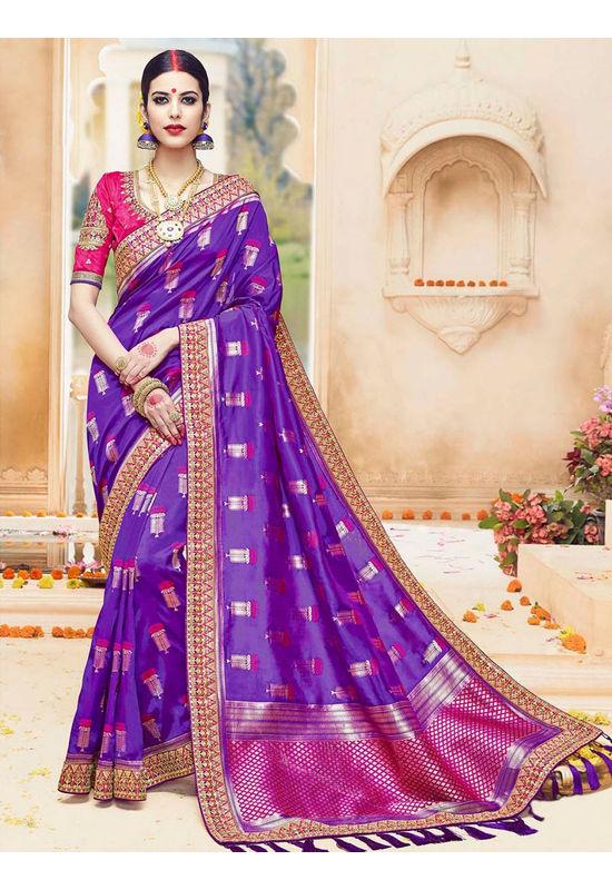 Purple  Color Kanjivaram Wedding Saree