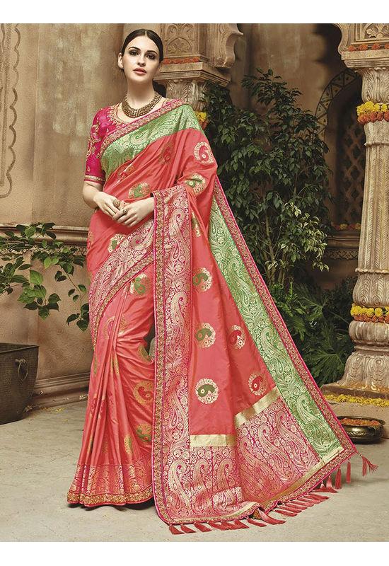 Coral green Kanjeevaram silk saree with embroidery