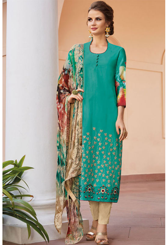 Casual Wear Straight Cotton Salwar Suit_27