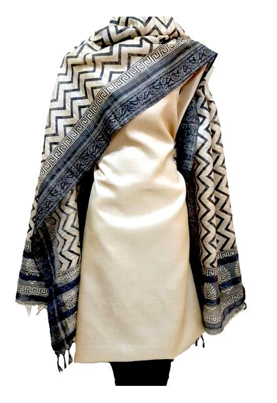 Cream with Printed Black Tussar Silk  Salwar Suit