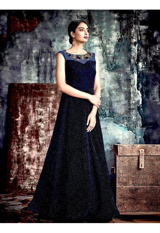 Designer Blue Black Long Party Gown