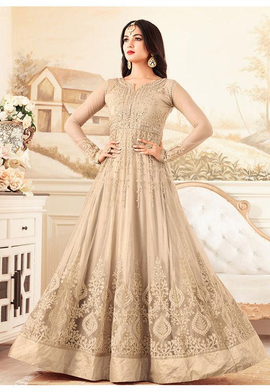Beige Wedding Wear Net Anarkali Suit