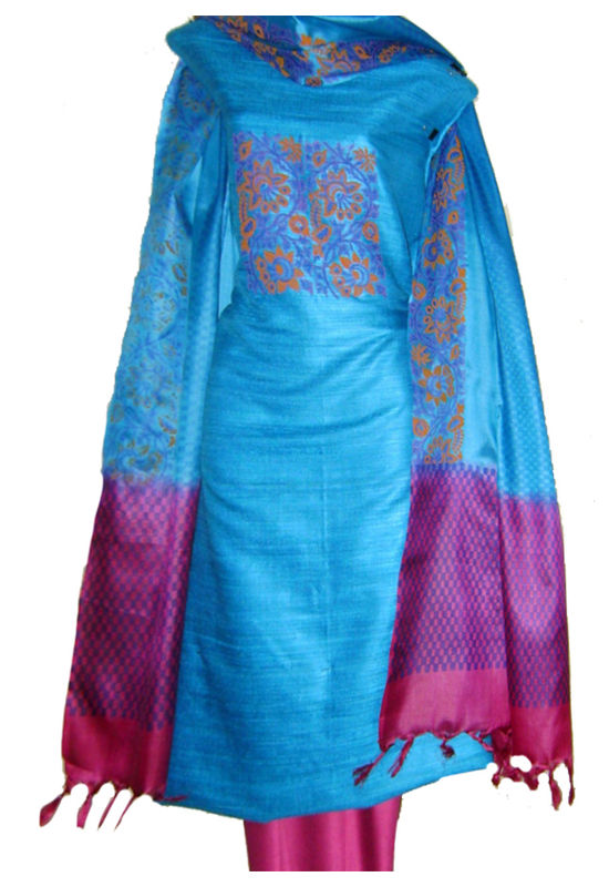 Dee's Alley Tussar Silk Suit in Blue Color with Pink Contrast _SP 435
