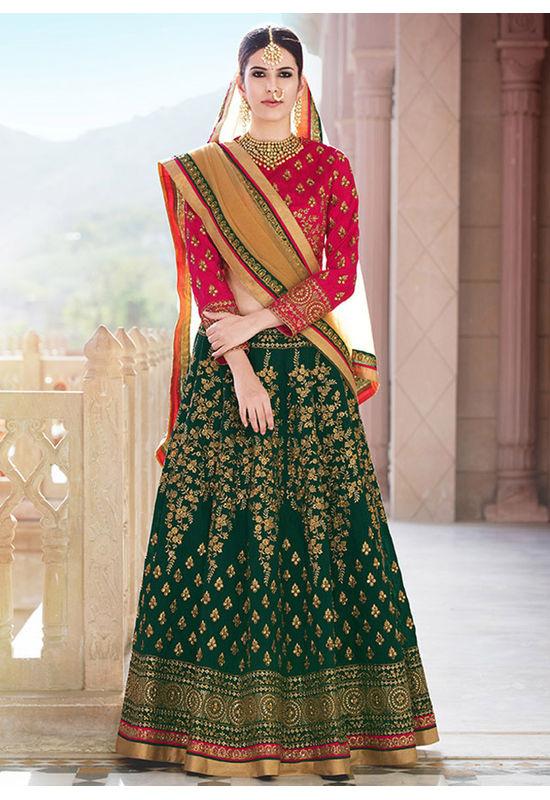 Dee's Alley Green and Pink Art Silk Lehenga Choli