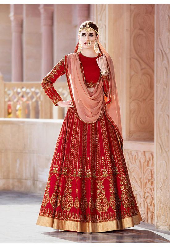 Dee's Alley Red Bridal  Art Silk Lehenga Choli
