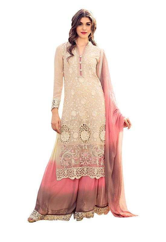 Cream Pink  color Art Silk Palazzo Salwar Kameez