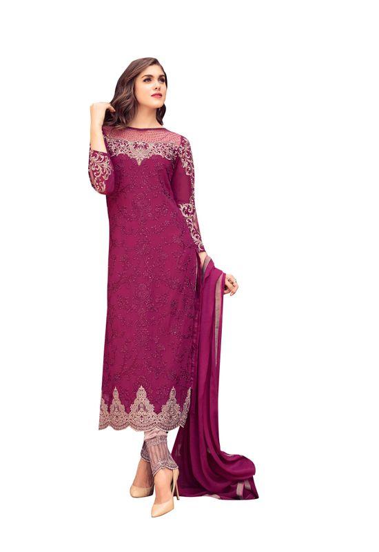 Georgette  Party Wear Salwar Kameez in Magenta Pink  Color