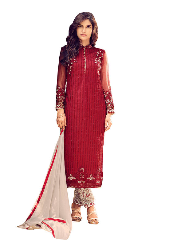 Georgette  Party Wear Salwar Kameez in Red Color