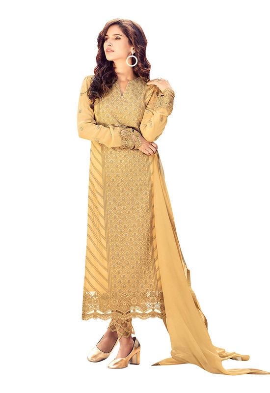 Georgette Party Wear Salwar Kameez in Yellow
