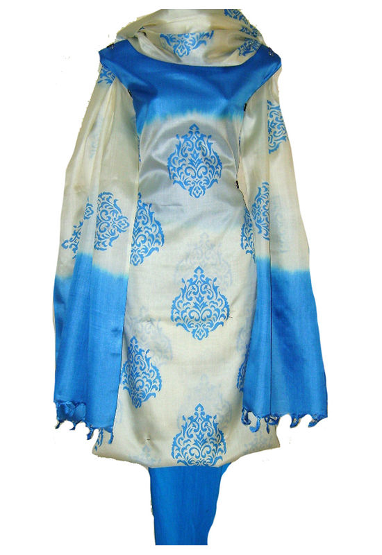 Dee's Alley Tussar Ghicha Silk Suit in Ivory with Blue Color _SP 434