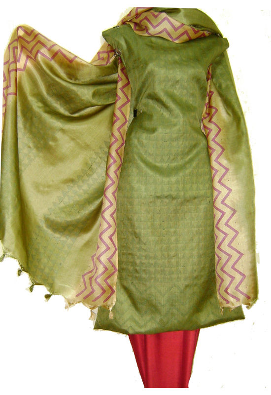 Dee's Alley Tussar  SIlk Suit in Henna Green Color _SP 423