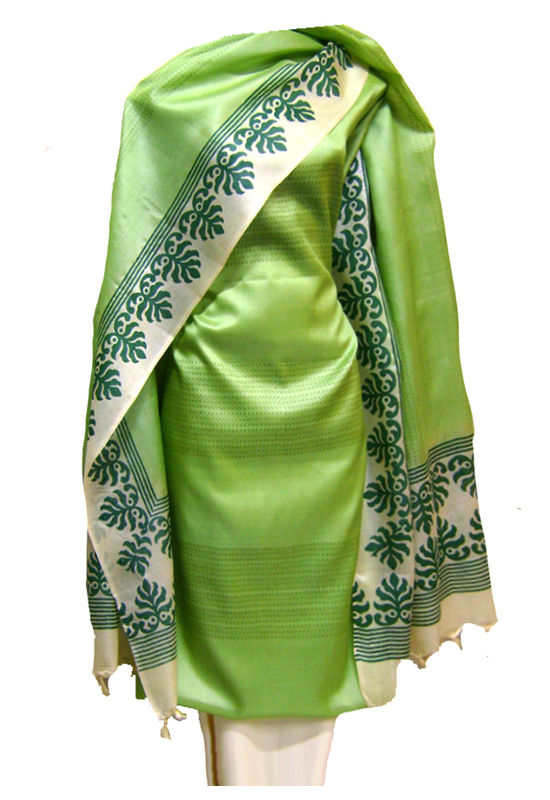 Dee's Alley Tussar Silk Suit In Green Color _SP 433
