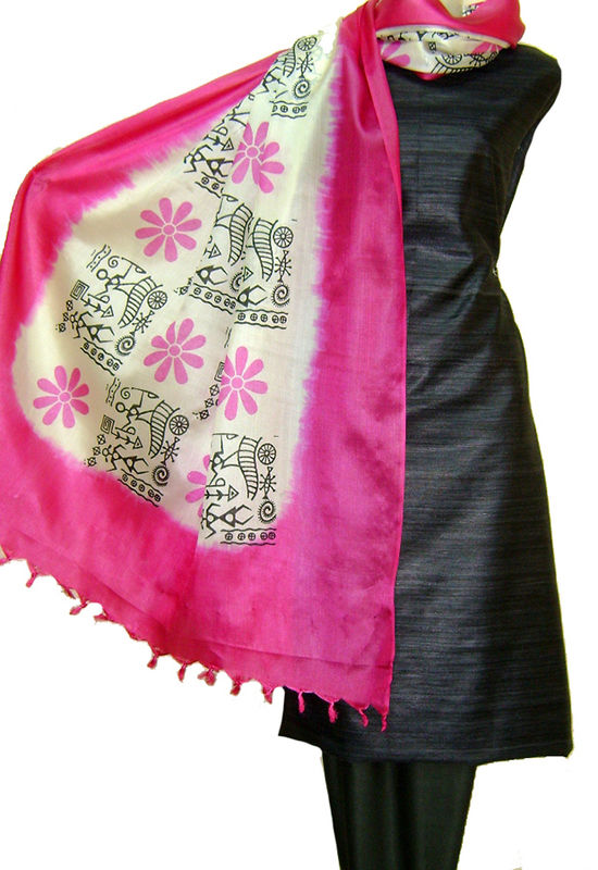 Pure Tussar Gicha Silk Salwar Suit Material_Black _Pink