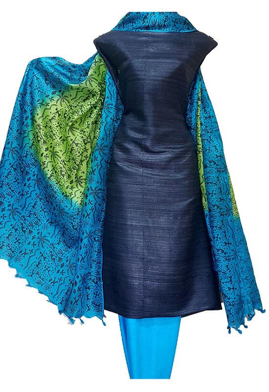 Dark Blue Pure Tussar Gicha Silk Salwar Suit Material