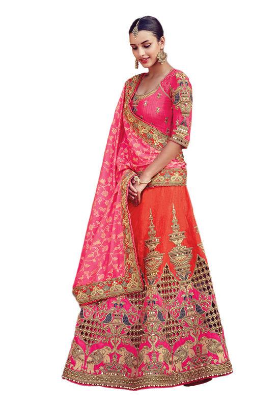 Orange Color Party wear Art Silk Embroidered Lehenga