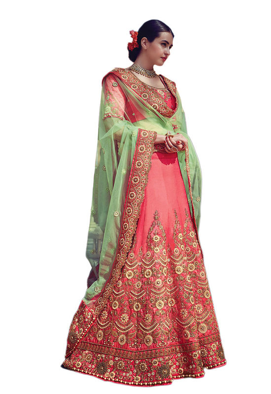 Pink Party wear Art Silk Embroidered Lehenga
