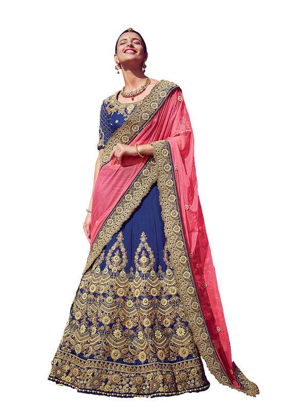 Royal Blue Party wear Art Silk Embroidered Lehenga