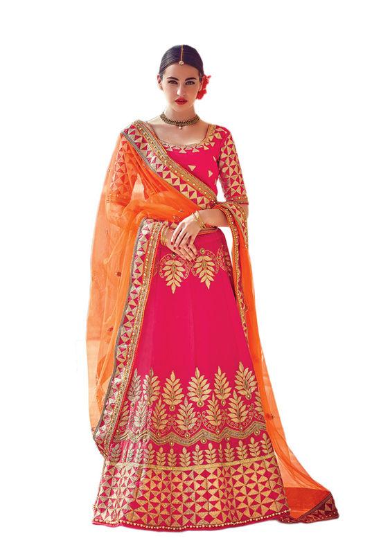 Dark Pink Party wear Art Silk Embroidered Lehenga