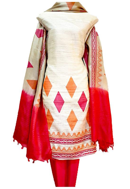 Dee's Alley Block Printed Pure Gicha Silk Dress Material_502