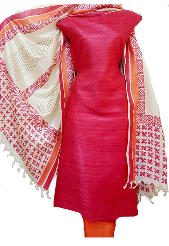 Coral Red Pure Tussar Gicha Silk Salwar Suit Material