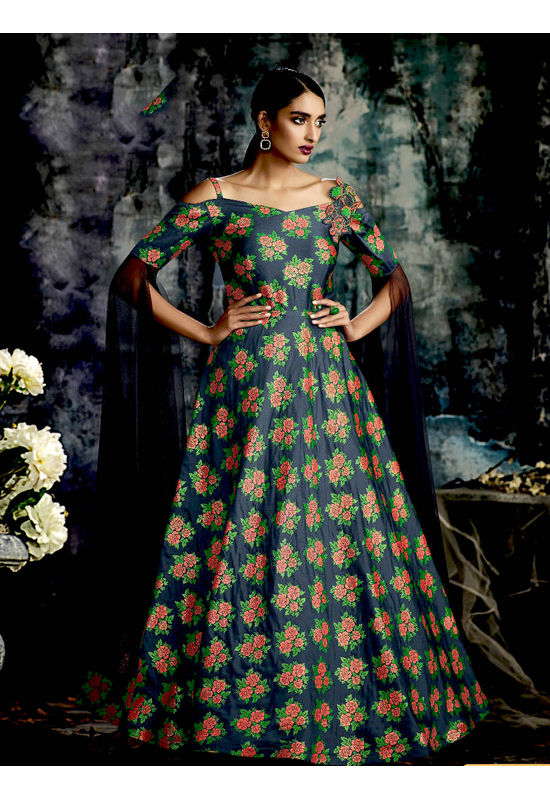 Green Embellished Long Party Gown
