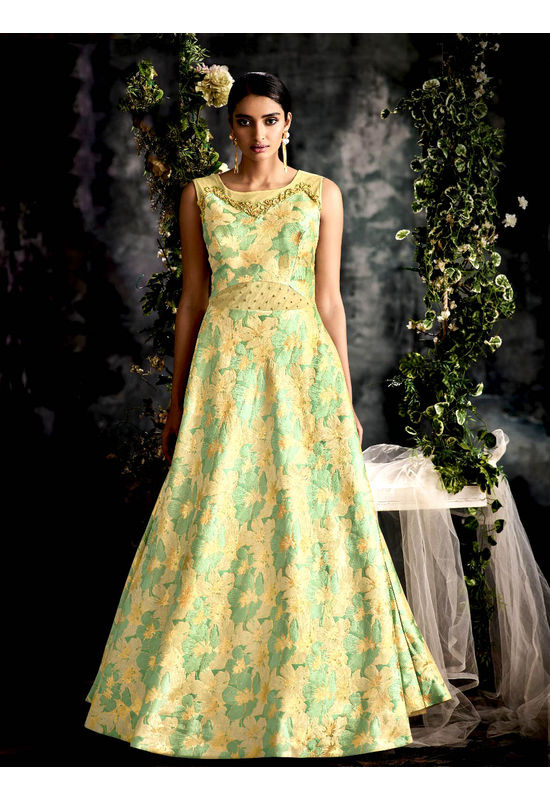 Designer Green with Yellow Long Party Gown
