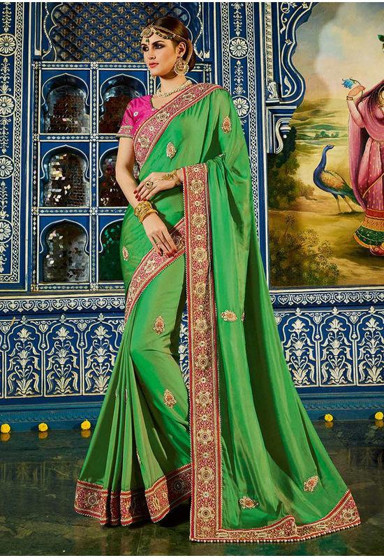Designer  Green Wedding Saree in  Satin and Art Silk _1