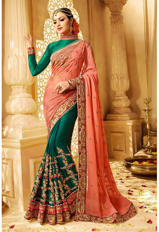 Green and Peach Color Georgette With Jacquard Wedding  Saree