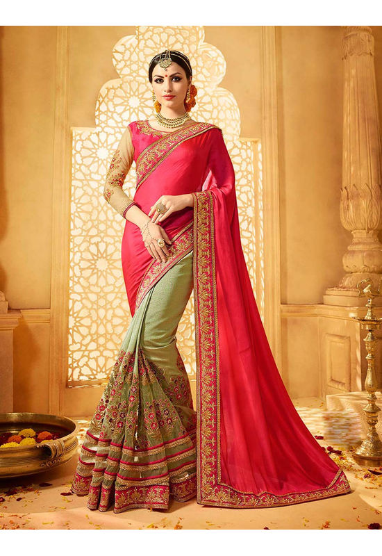 Hot Pink With Green Color Art Silk Designer Half N Half wedding Saree_12