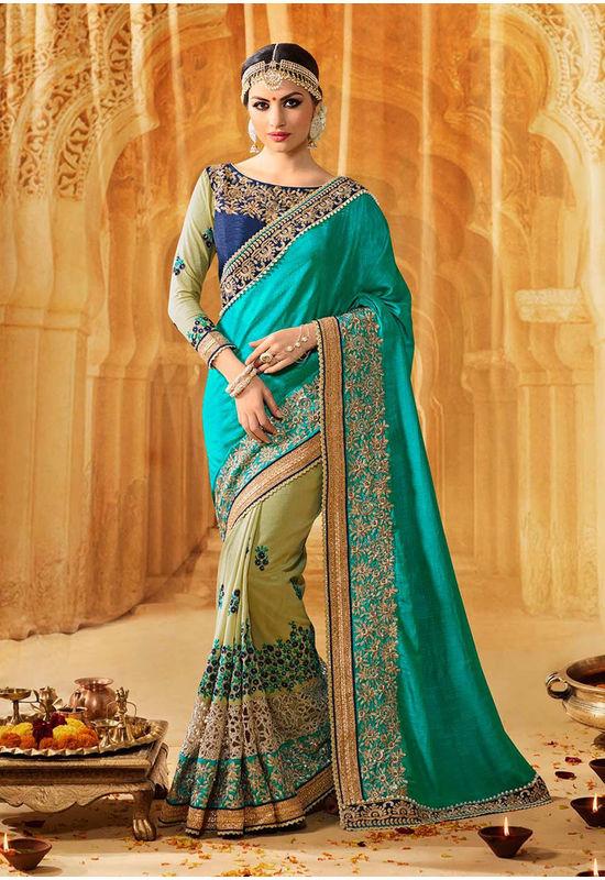 Designer Heavily Embroidered Green Wedding Saree_13