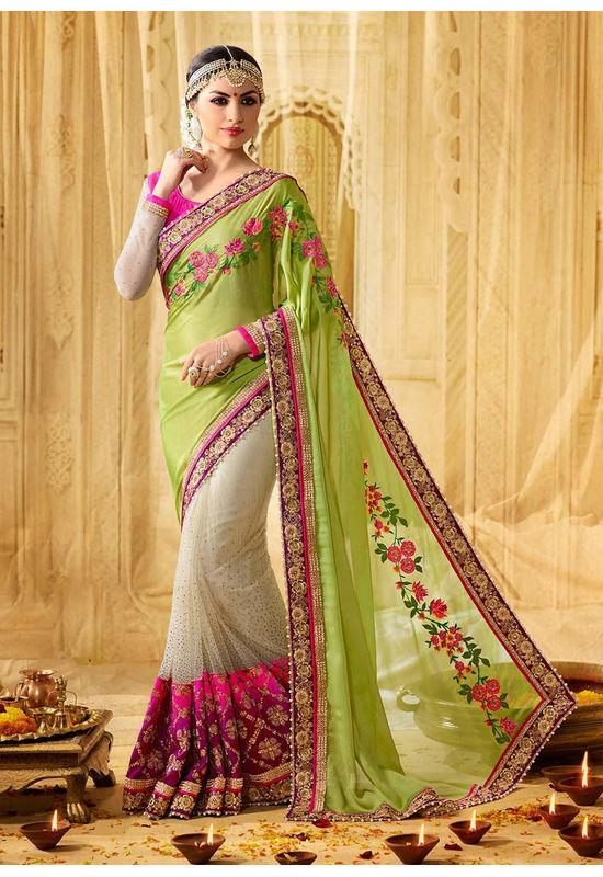 Floral Embroidered Designer Green Wedding Saree_14