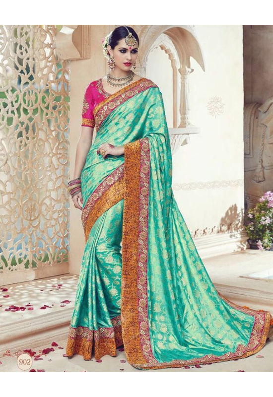 Embroidered Pink Green Wedding Kanjivaram Saree_16