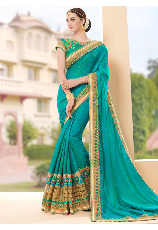 Designer Green Wedding Saree_17