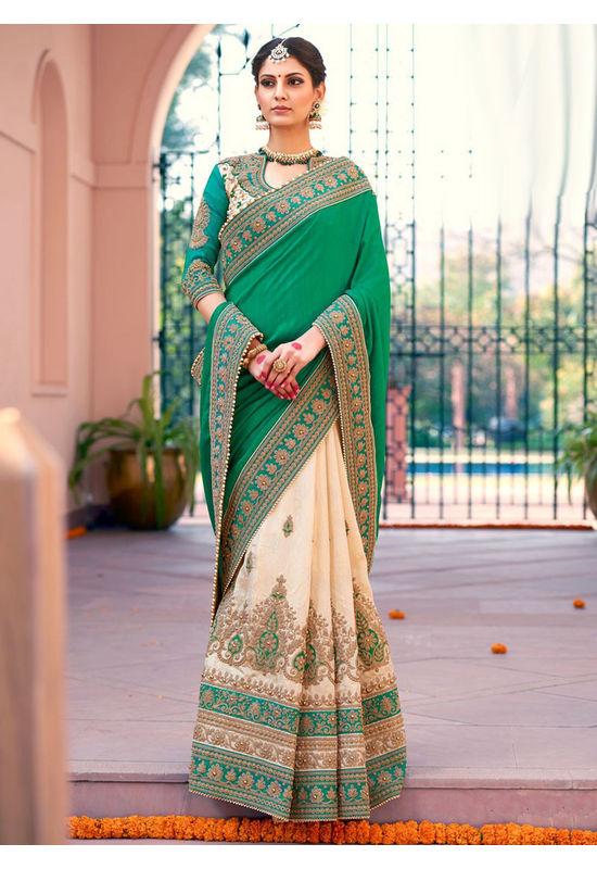 Designer Green Wedding Saree_18