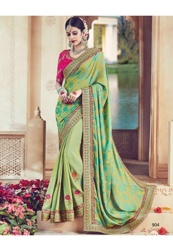 Designer Green Wedding Saree_19