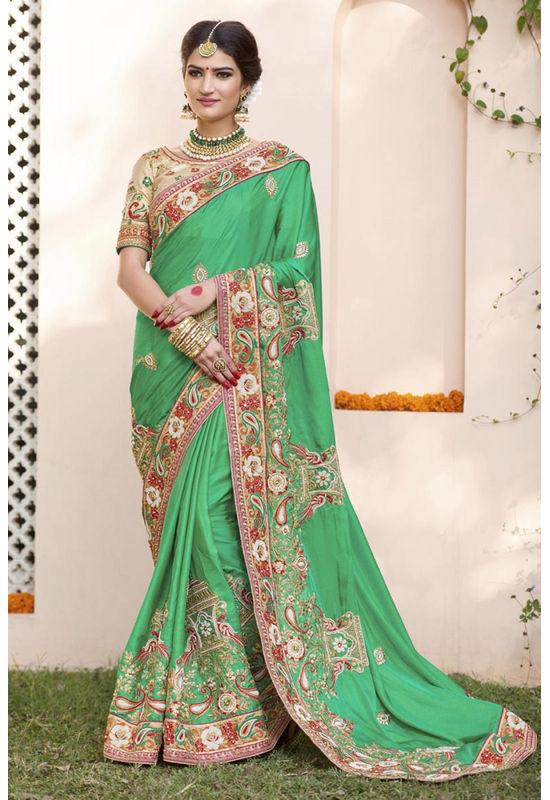 Designer Green Wedding Saree_22